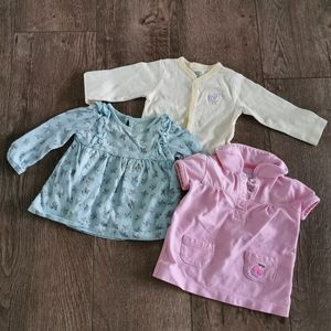 3/$12 Baby girl top lot size 9 M